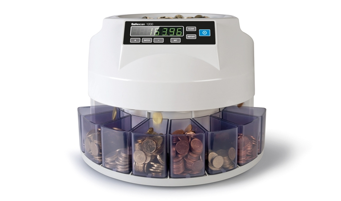 Counts and sorts 220 coins per minute