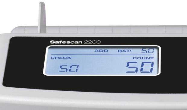 Das große und gut ablesbare LCD-Display zeigt die Anzahl der gezählten Banknoten und die gewählten Zählfunktionen