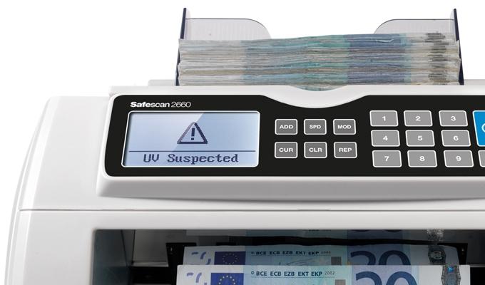 Zichtbaar en hoorbaar waarschuwingssignaal wanneer een verdacht biljet gedetecteerd wordt