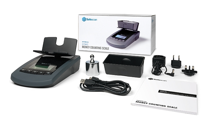 In the box: Safescan 6155 with Money platform, Power adapter, weight, USB cable, Coin Cup and Manual